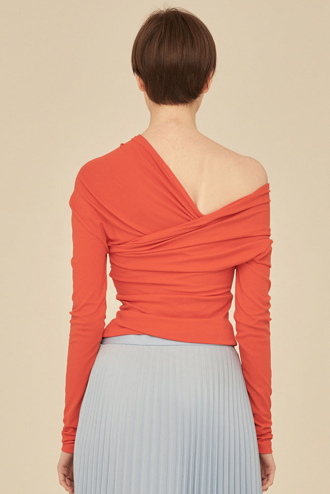 Off The Shoulder Crossed Wrap Knit Top-Orange - front row shop