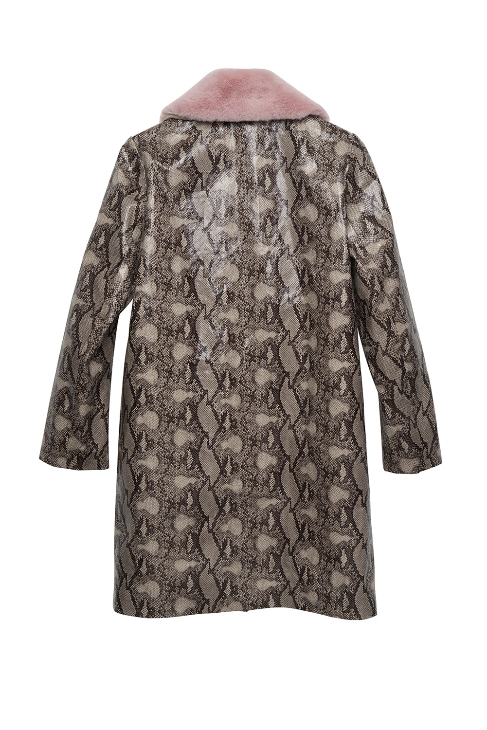 Detachable Faux Fur Collar Snakeskin Print Faux Leather Coat - front row shop