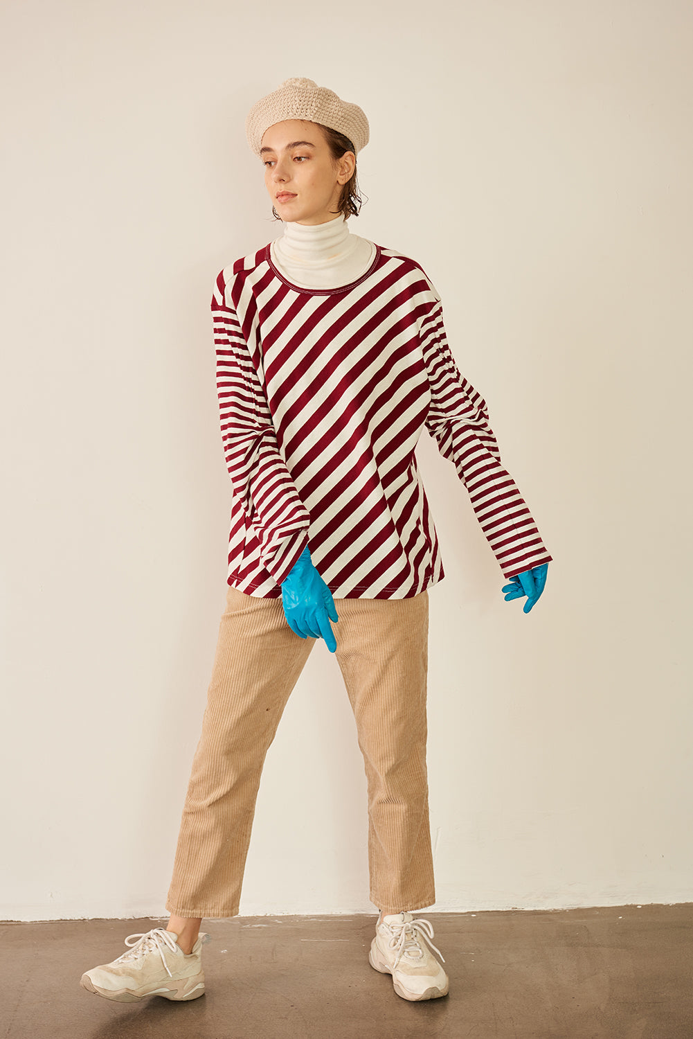 Striped Patchwork Long Sleeve T-shirt