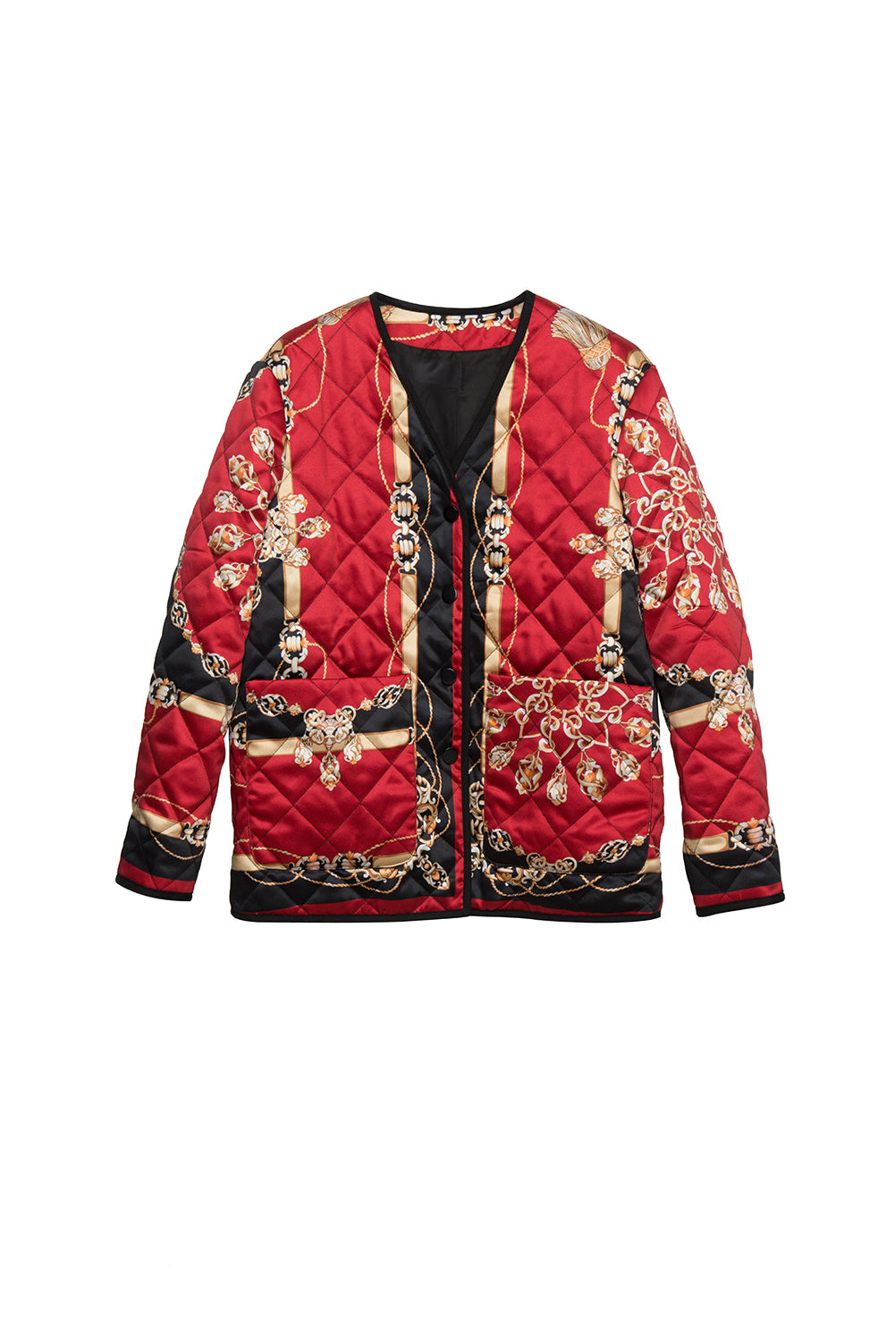Scarf Print Quilted Jacket