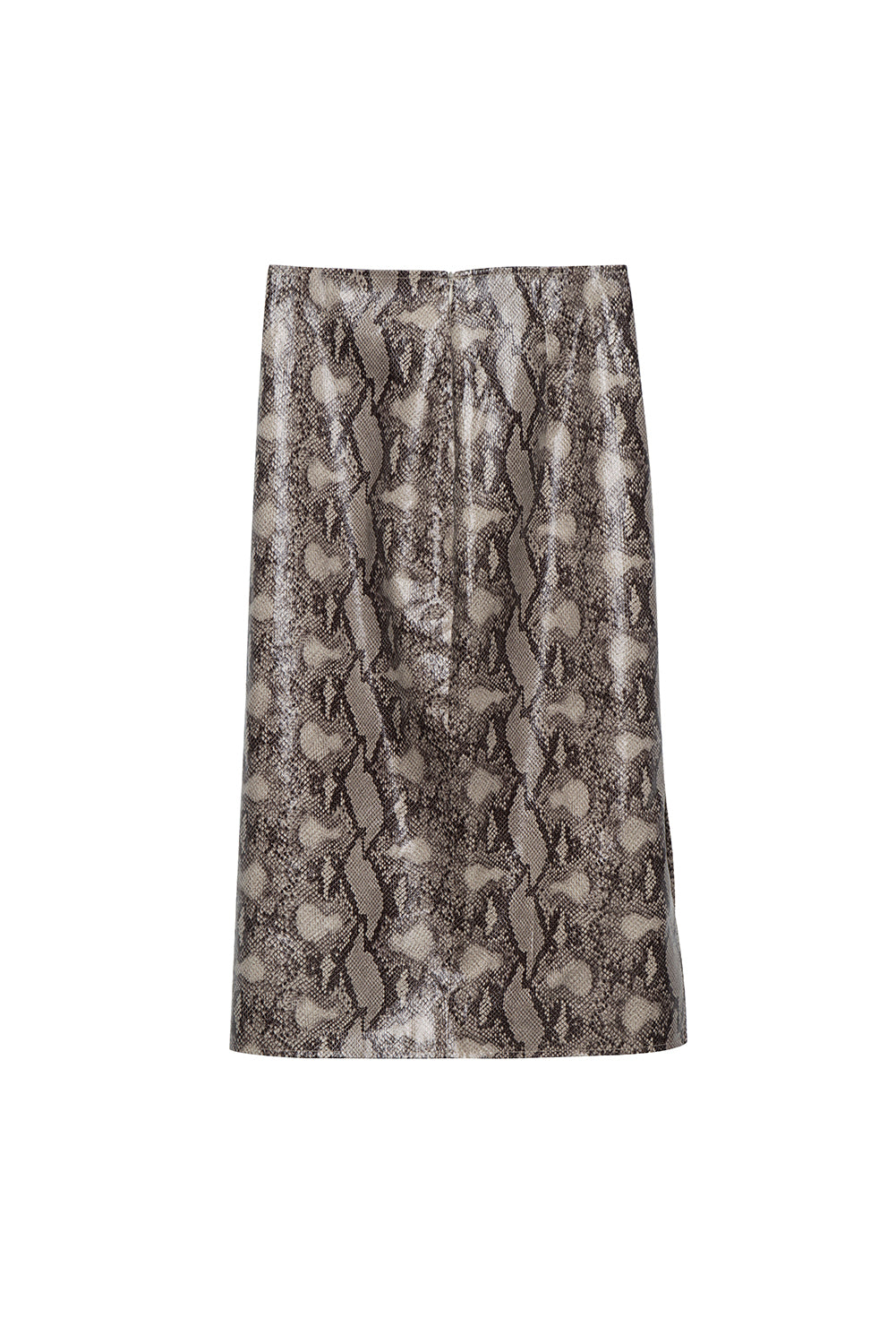 Snakeskin Print Faux Leather Midi Skirt