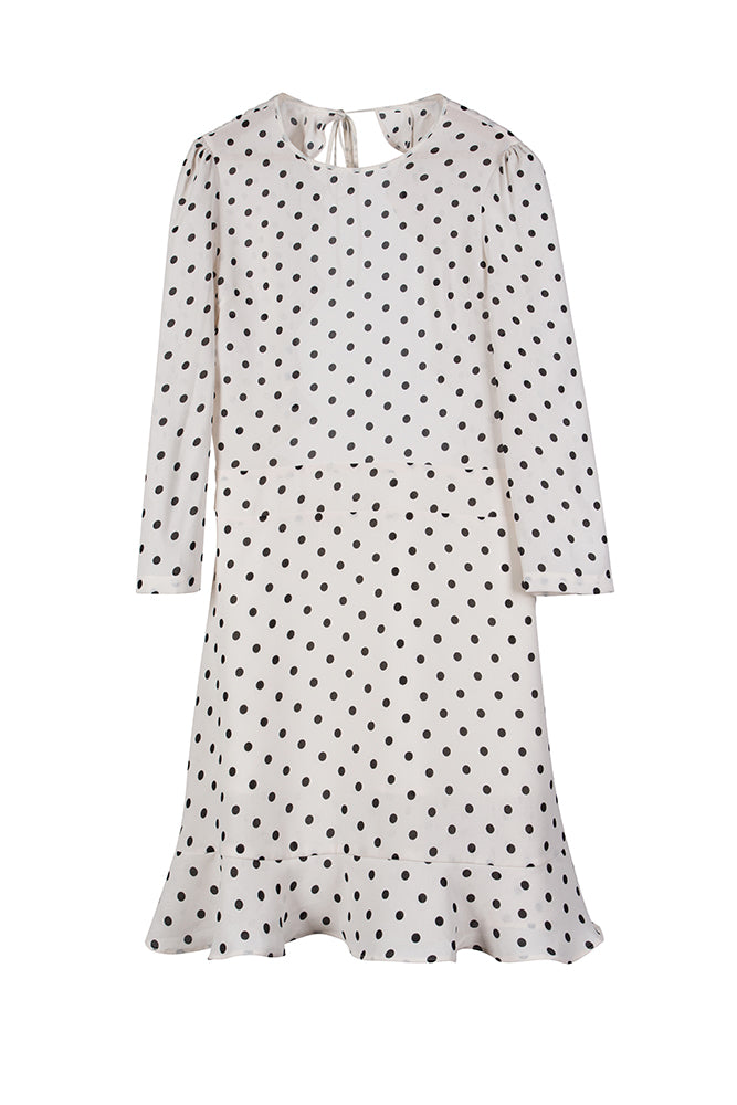 Polka Dot Ruffle Open Back Skater Dress - White - front row shop