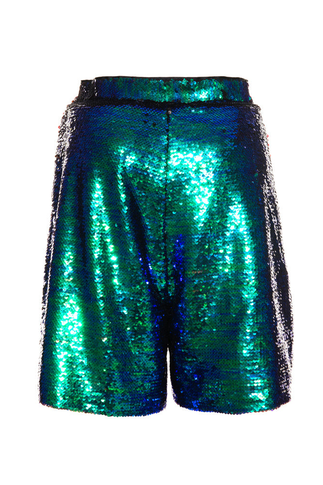 Blue Sequin Sporty Shorts - front row shop