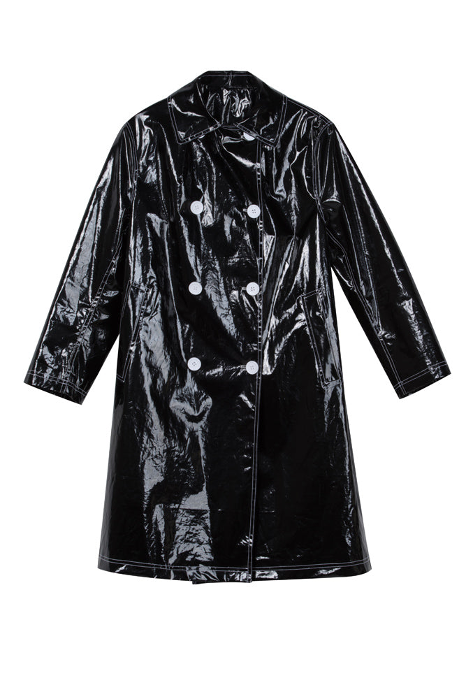 Shiny Double Breasted Trench Coat
