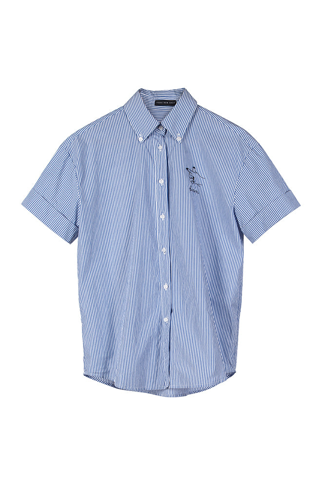 Blue Stripe Holiday Shirt - front row shop