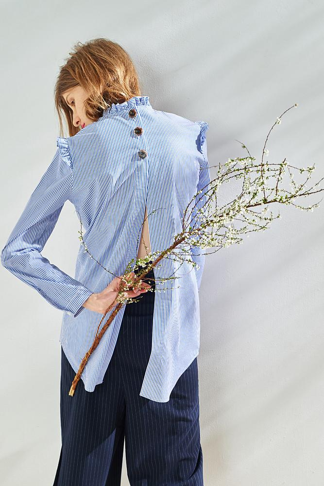 Back Slit Embroidered Stripe Shirt