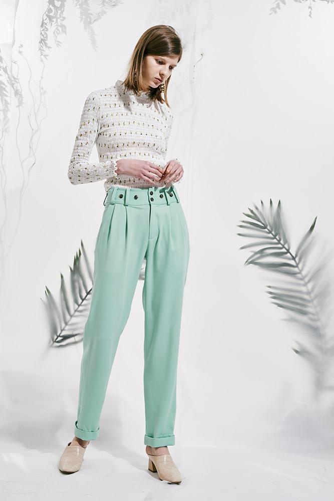 Buttoned Flowing Trousers - front row shop