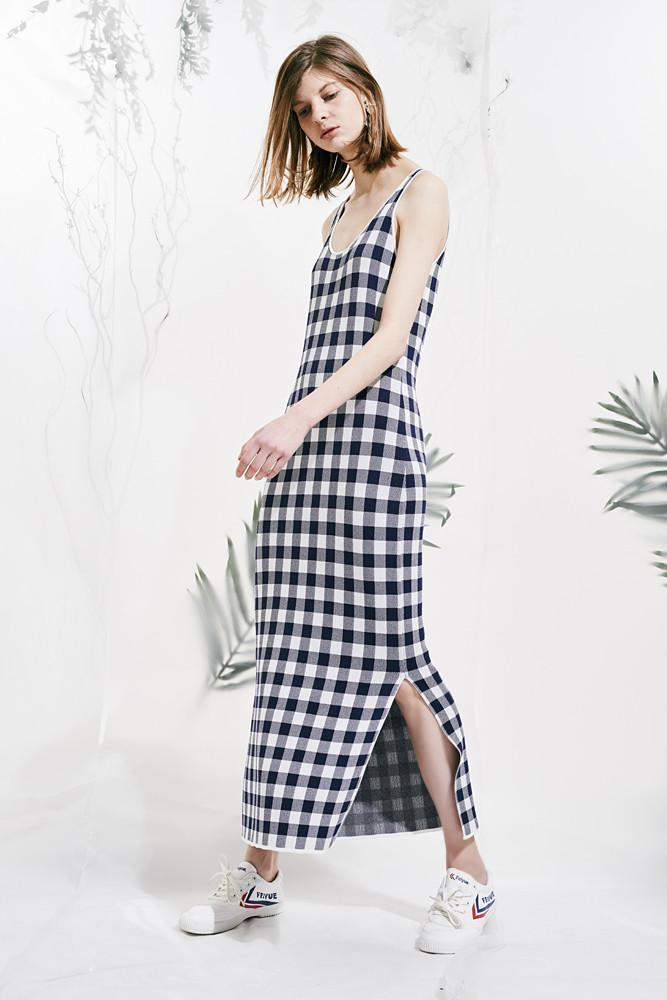 Checked Dress-FRONT ROW SHOP