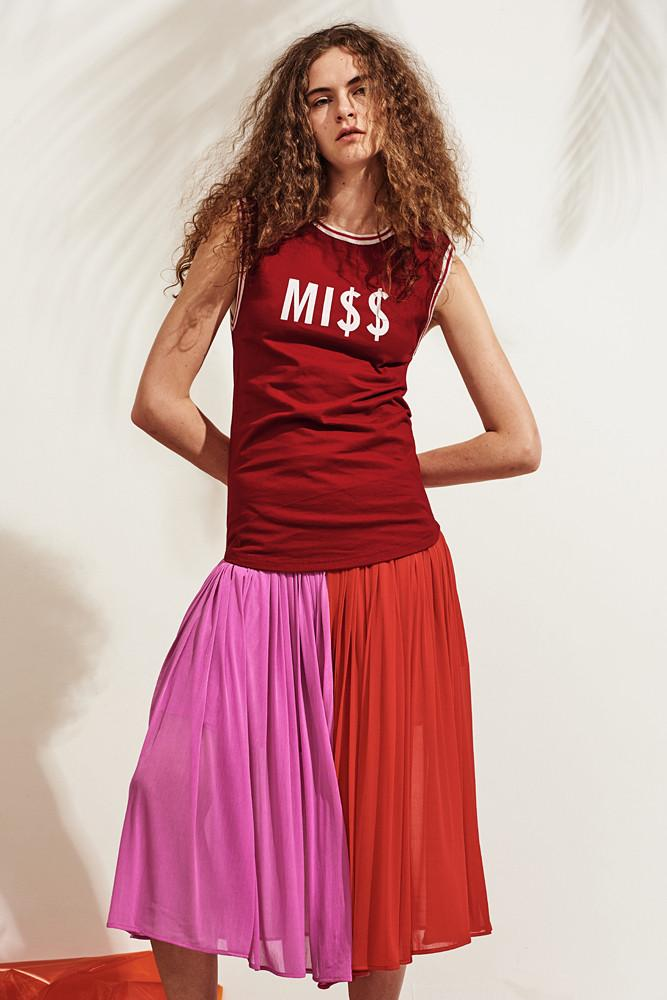 Contrasting Pleated Skirt-FRONT ROW SHOP
