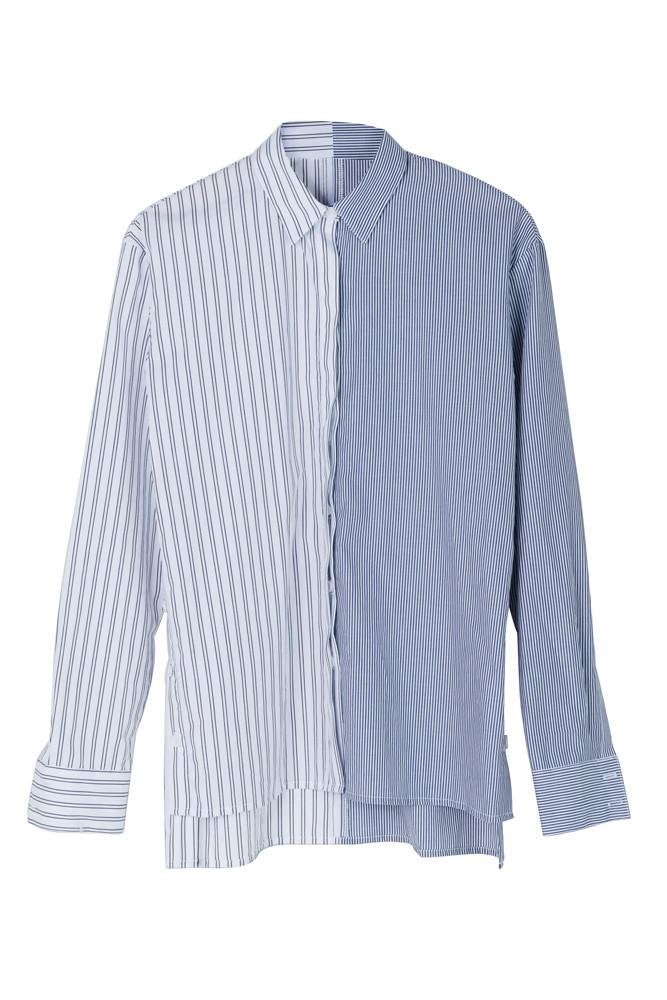 Contrasting Stripe Shirt-FRONT ROW SHOP