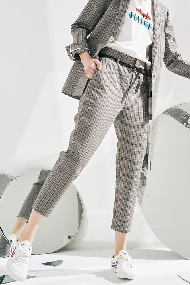 Cotton Suit Pants-FRONT ROW SHOP