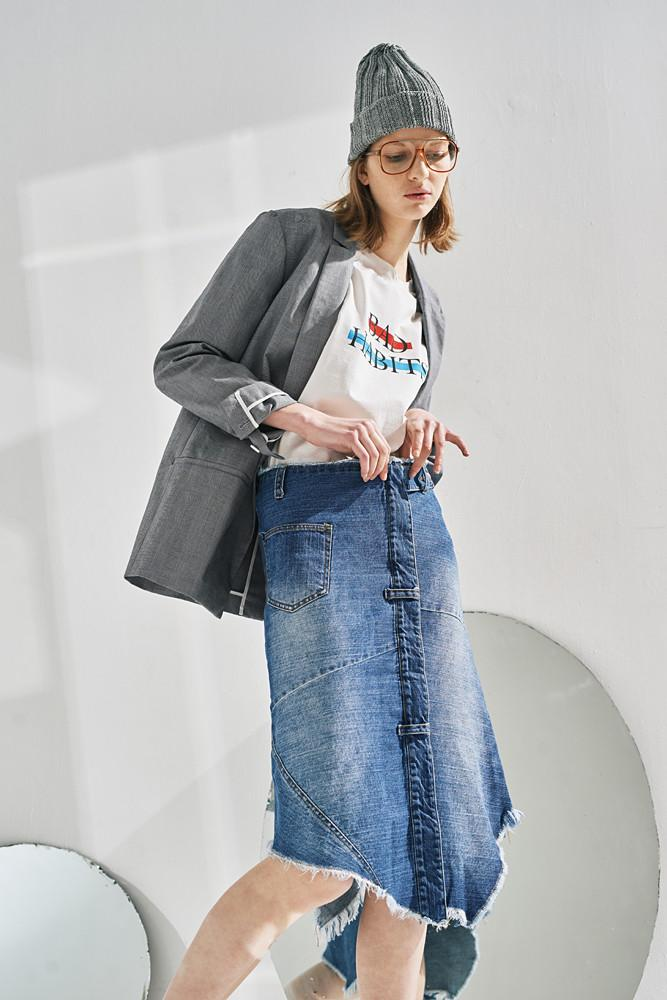 Denim Midi Skirt-FRONT ROW SHOP