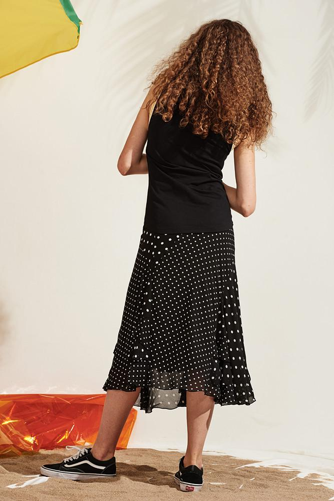 Frilled Midi Skirt-FRONT ROW SHOP