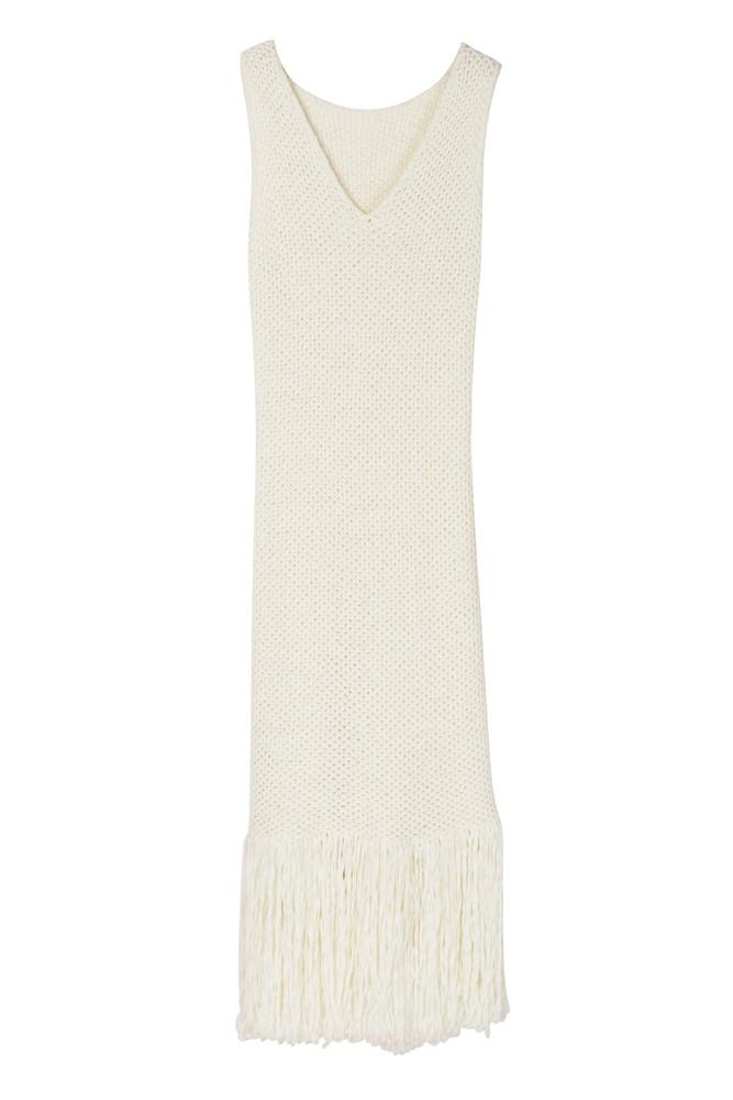 Fringed Hem Knit One-piece Dress-FRONT ROW SHOP