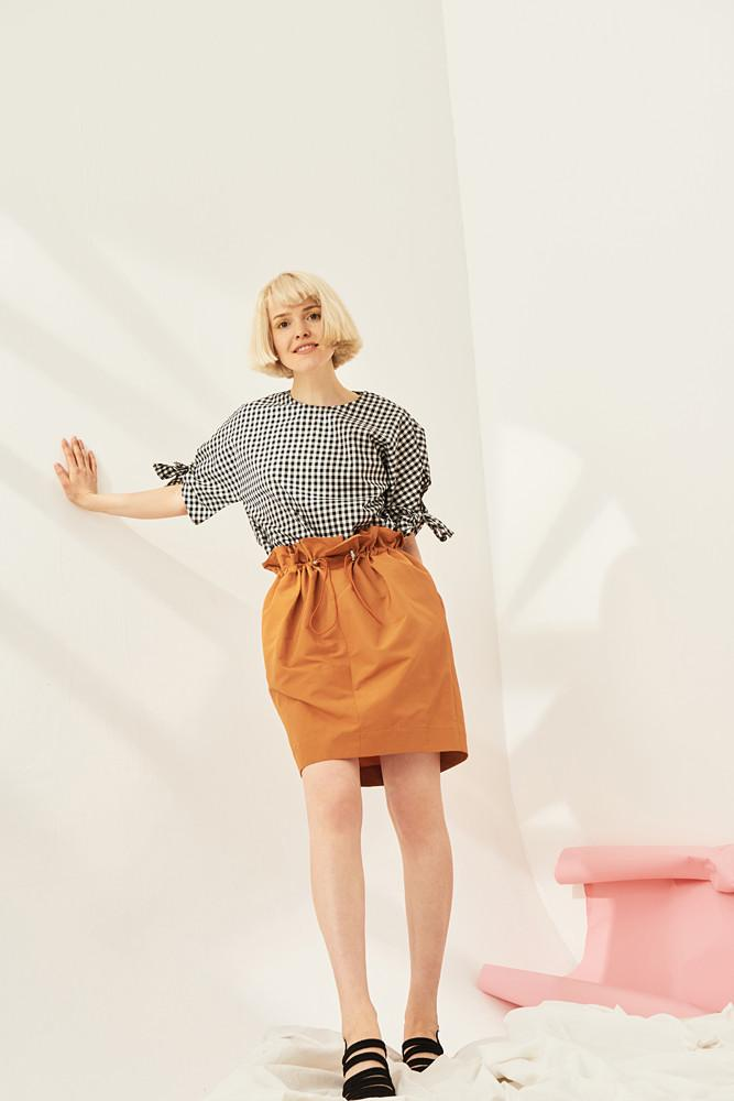 Gathered Mini Skirt-FRONT ROW SHOP