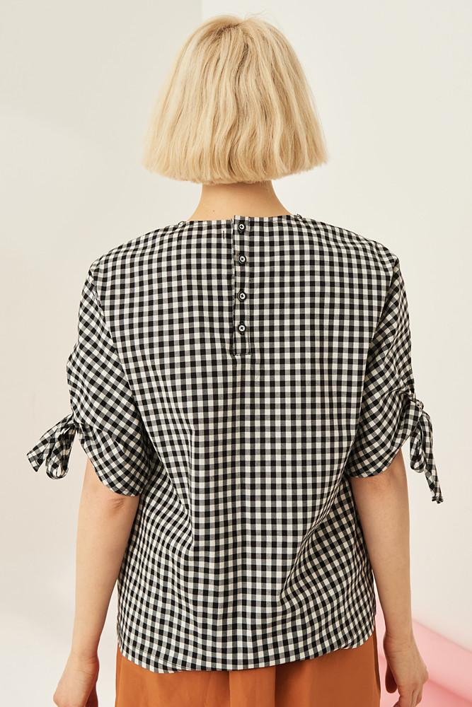 Gingham Shirt With Bowed Sleeves-FRONT ROW SHOP