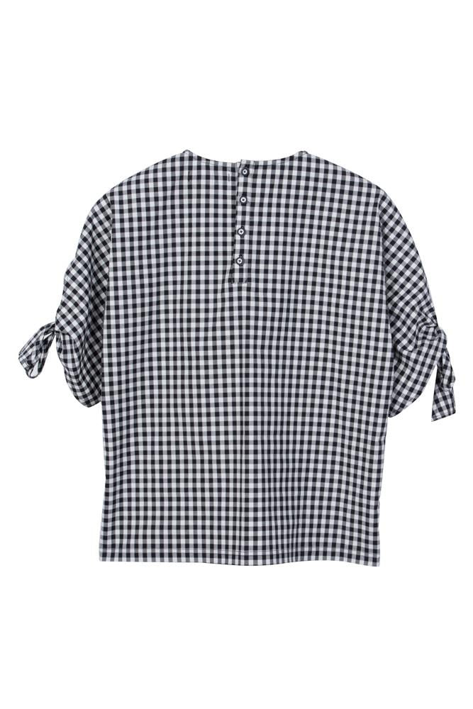 Gingham Shirt With Bowed Sleeves - front row shop