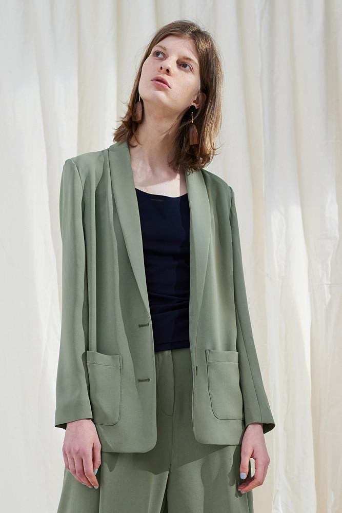 Green Single-breasted Blazer-FRONT ROW SHOP
