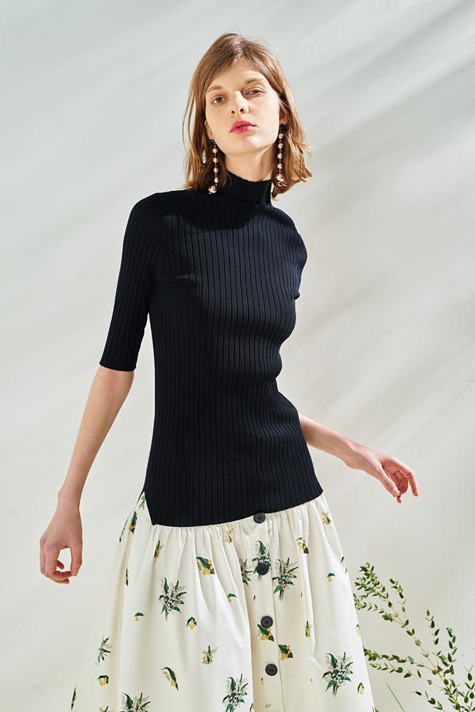 Half Sleeve High Neck Knit Top-FRONT ROW SHOP