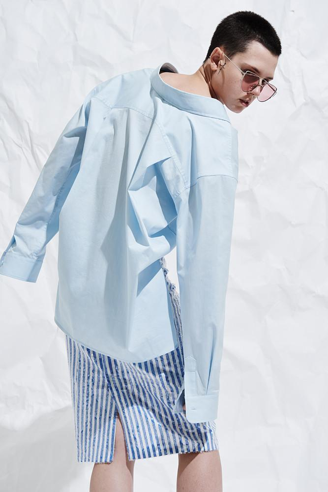 Oversized Shirt With Vents - front row shop