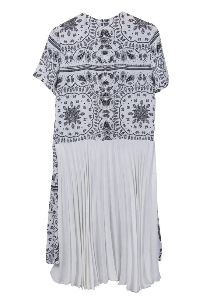 Paisley Print Pleated Dress-FRONT ROW SHOP
