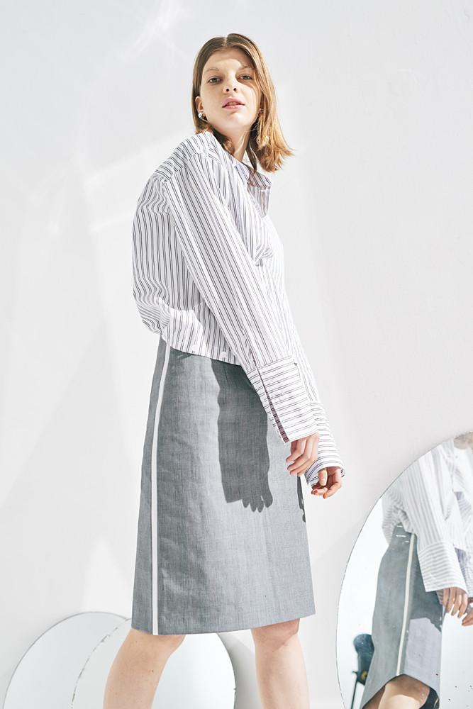 Pencil Skirt With Side White Line-FRONT ROW SHOP