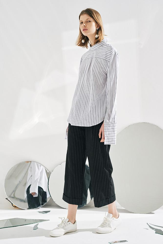 Reverse Style Pinstripe Shirt-FRONT ROW SHOP