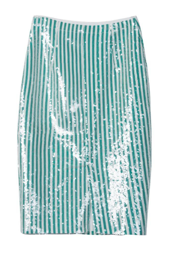 Sequinned Pencil Skirt-FRONT ROW SHOP
