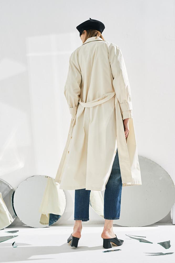 Side Slit Double Breasted Trench Coat-FRONT ROW SHOP
