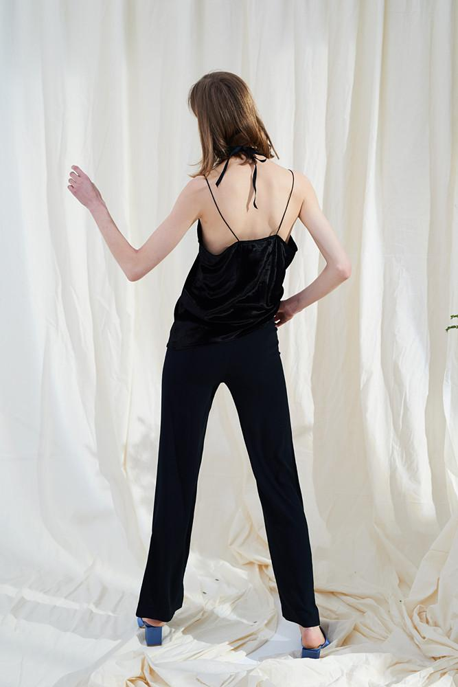 Straight Cut Black Trousers-FRONT ROW SHOP