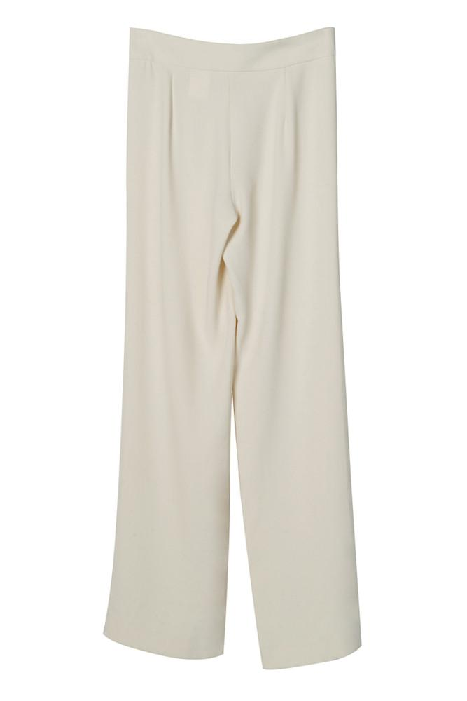 Straight Cut White Trousers-FRONT ROW SHOP