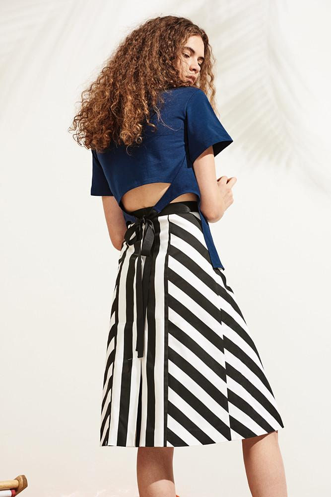 Striped A-line Skirt-FRONT ROW SHOP