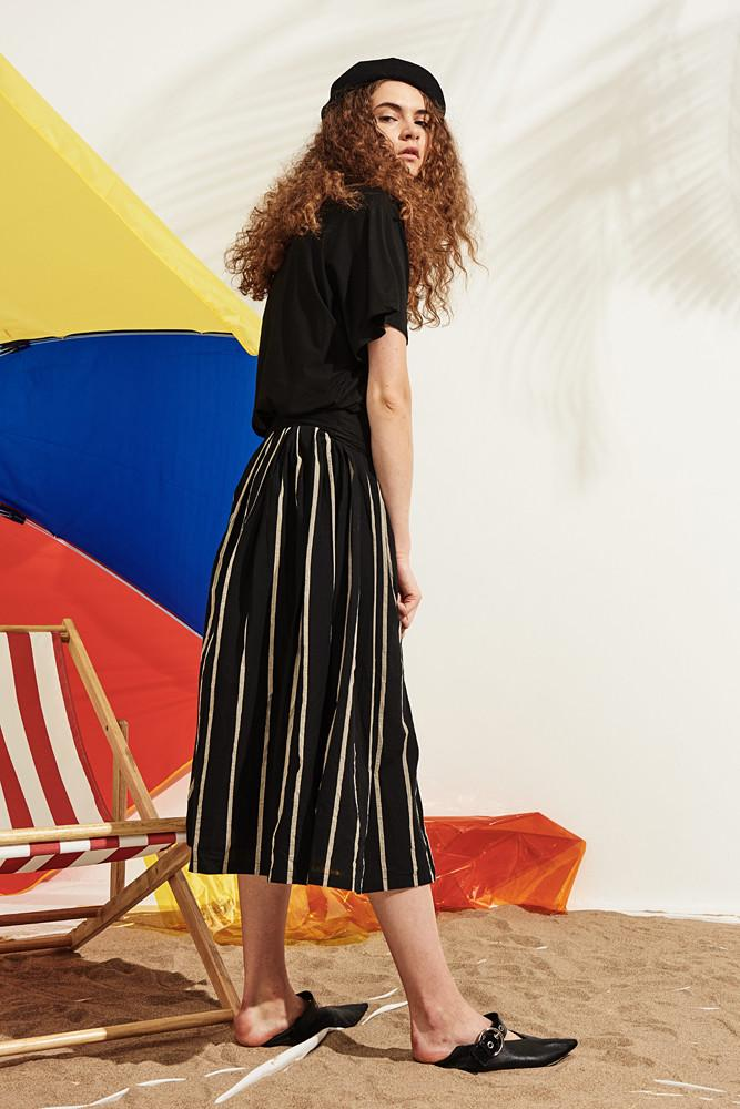 Striped Midi Skirt-FRONT ROW SHOP