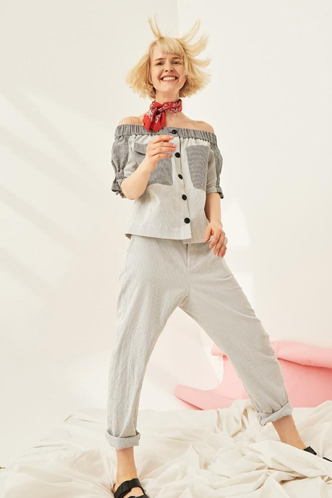 Striped Trousers-FRONT ROW SHOP