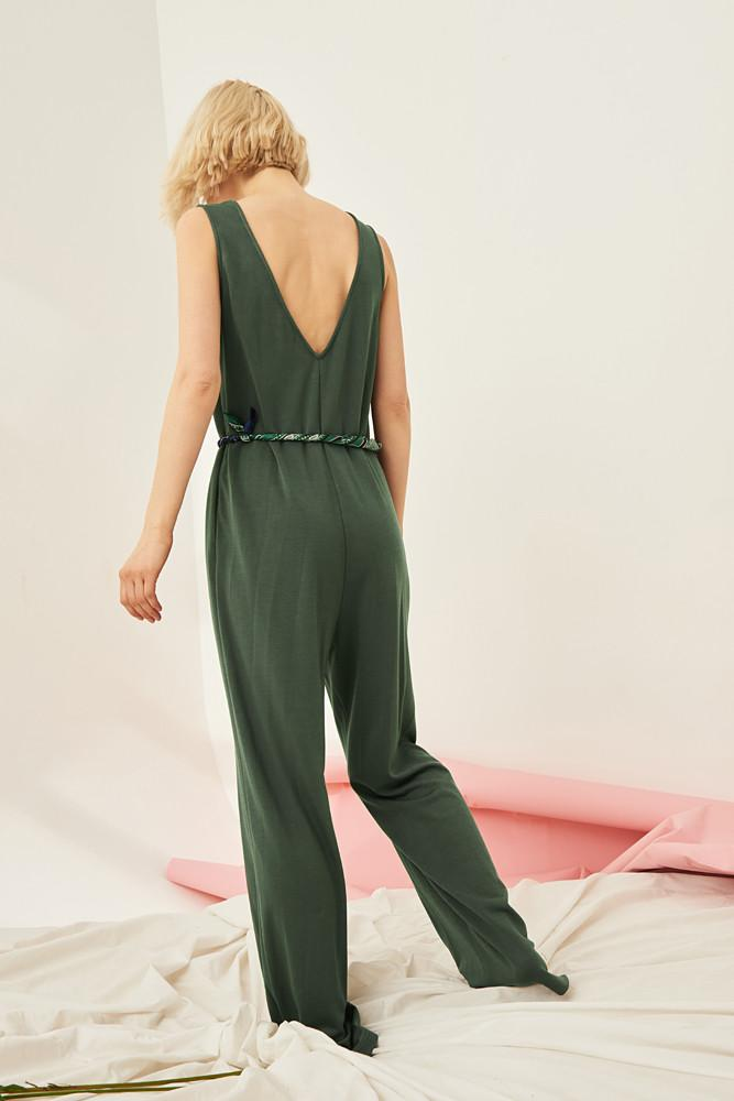 V-neck Jumpsuit-FRONT ROW SHOP