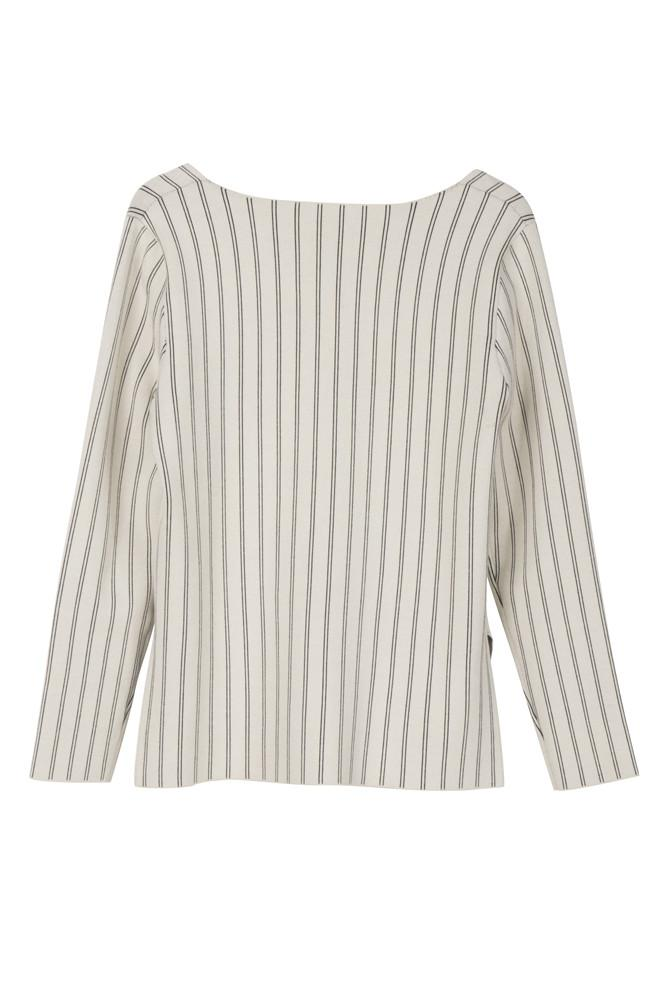V-neck Pinstripe Sweater-FRONT ROW SHOP