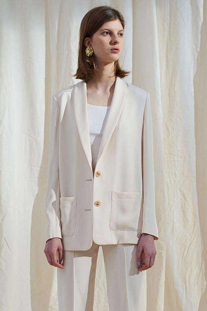 White Single-breasted Blazer-FRONT ROW SHOP