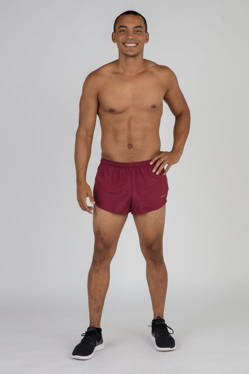 "MENS 1"" ELITE SPLIT RUNNING SHORTS- MAROON"