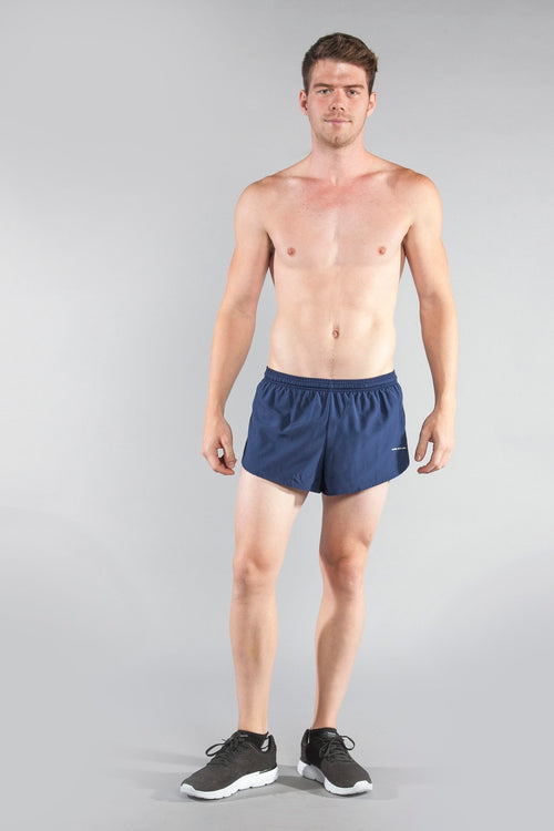 "MENS 1"" ELITE SPLIT RUNNING SHORTS- NAVY"