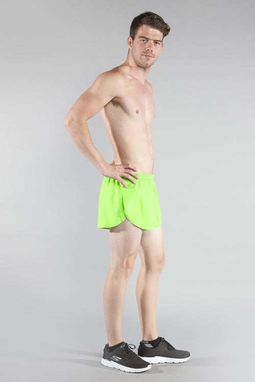 "MENS 1"" ELITE SPLIT RUNNING SHORT- NEON LIME - BOAUSA"