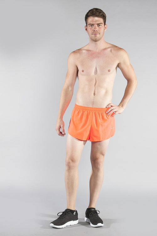 "MENS 1"" ELITE SPLIT RUNNING SHORT- NEON SUNKISS - BOAUSA"