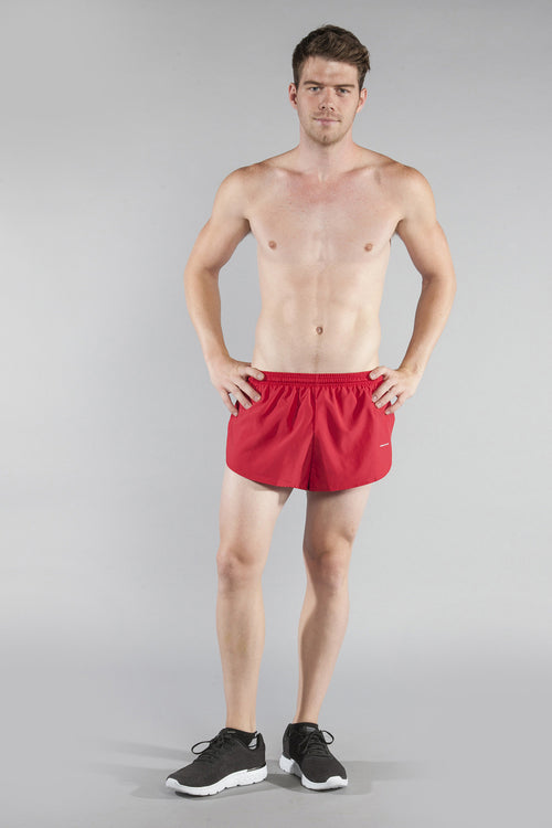 "MENS 1"" ELITE SPLIT RUNNING SHORT- RED - BOAUSA"