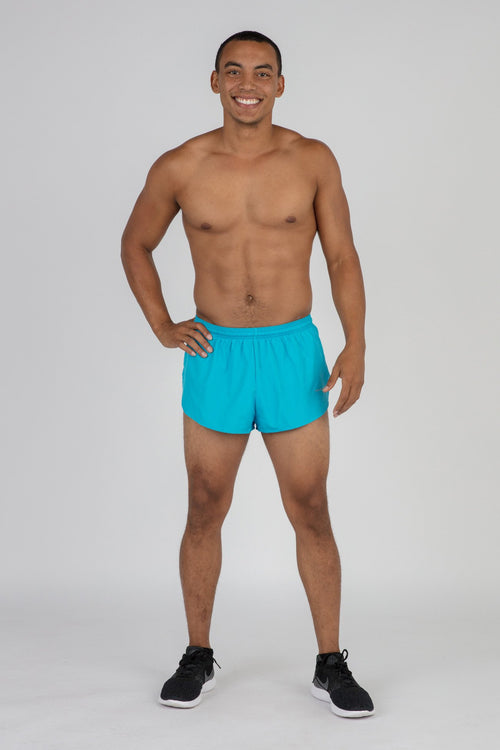 "MENS 1"" ELITE SPLIT RUNNING SHORTS- VIVID BLUE"