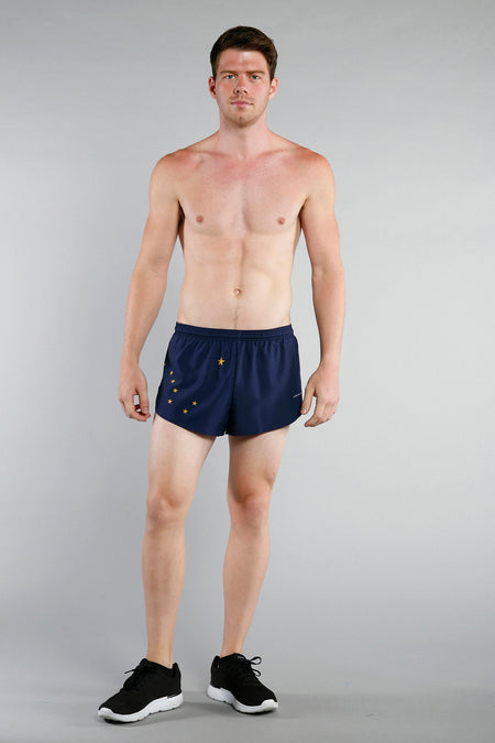 MEN'S 1 INCH INSEAM ELITE SPLIT RUNNING SHORTS- WYOMING