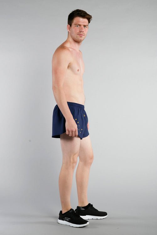 MEN'S 1 INCH INSEAM ELITE SPLIT RUNNING SHORTS- ALASKA
