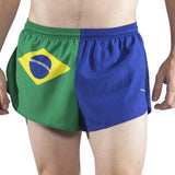 MEN'S 1 INCH INSEAM ELITE SPLIT RUNNING SHORTS- BRAZIL