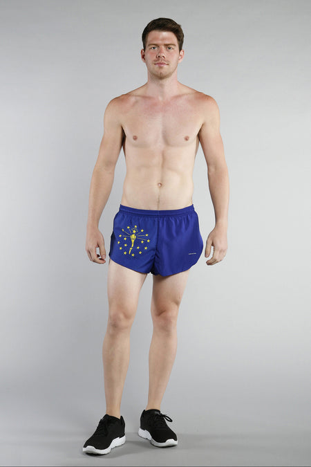 MEN'S 1 INCH INSEAM ELITE SPLIT RUNNING SHORTS- LOUISIANA