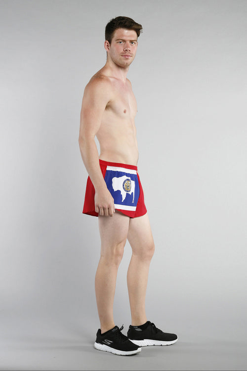 "MEN'S 1"" ELITE SPLIT SHORT- WYOMING - BOAUSA"