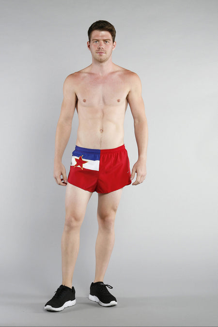 "MENS STRETCH 1"" ELITE PRINTED SPLIT RUN SHORT- AMERICAN FLAG"