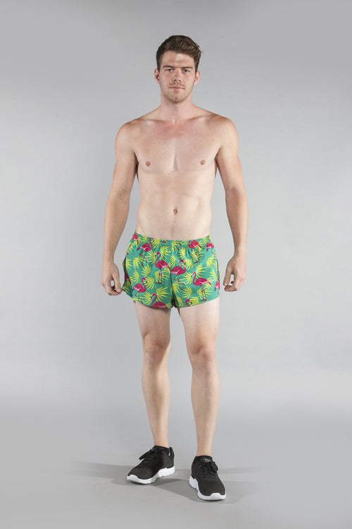 "MENS STRETCH 1"" ELITE PRINTED SPLIT RUN SHORT- FLAMINGO GREEN - BOAUSA"